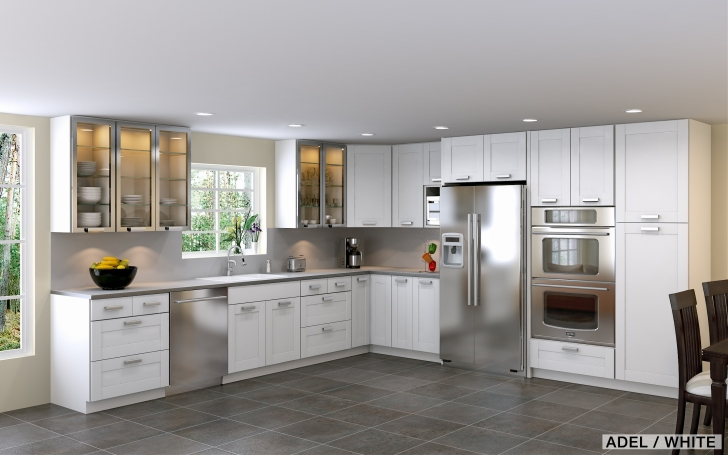White Adel Kitchen Featuring Shaped Base Corner Cabinets