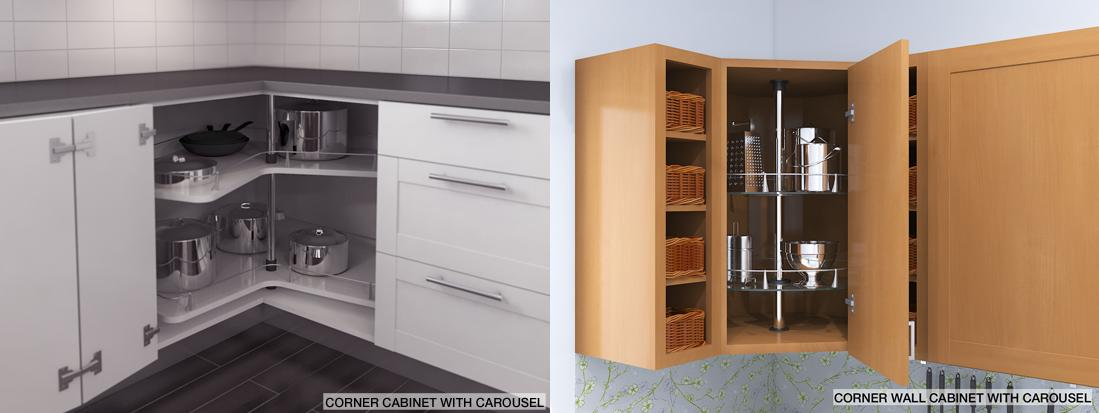 Carousels Offer 360° For This Base Corner (easy Reach) Cabinet Or Wall  Corner
