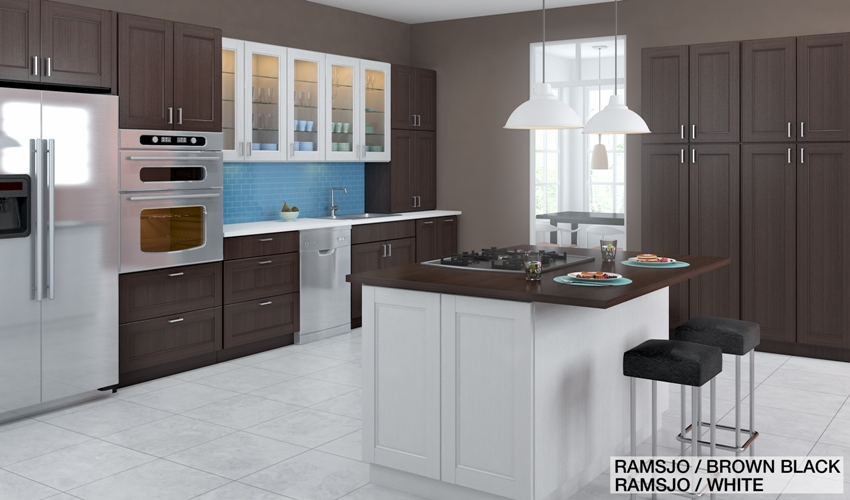 Ramsjo Kitchen with both Brown-Black and White Cabinets