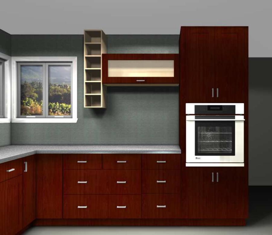 Open Shelves And A Horizontal Cabinet Were Added For Unique And Modern Asymmetric Look