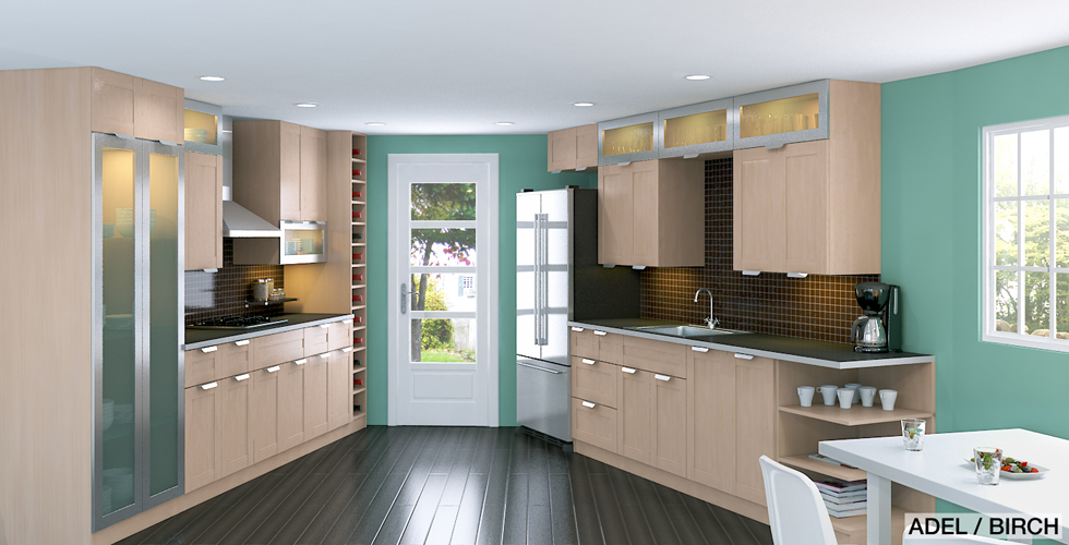 adel birch kitchen displaying two effects achievable by pairing avsikt glass doors and akurum cabinets - Ikea Akurum Kitchen Cabinets