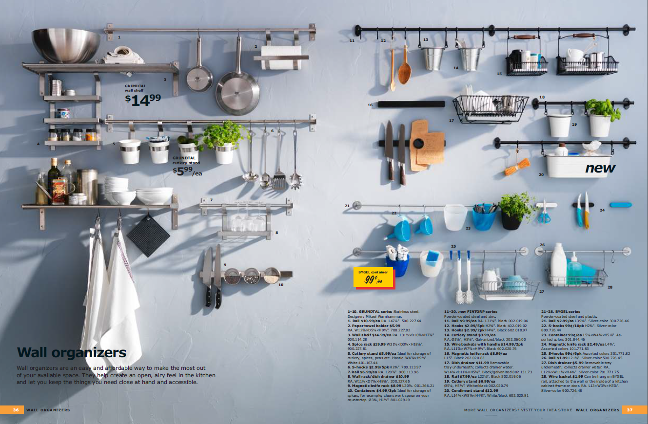 The 2012 IKEA Kitchen Catalogue Devotes Two Pages To Wall Organizers Alone!
