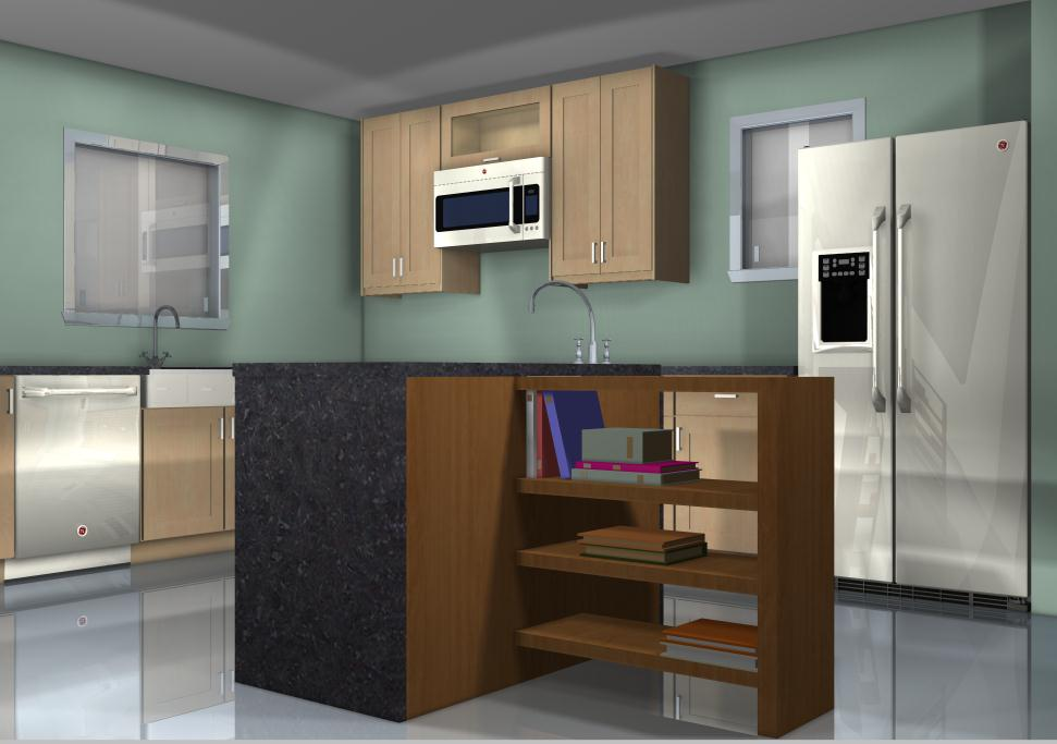 Kitchen island configurations adding space for cookbooks for Kitchen configurations