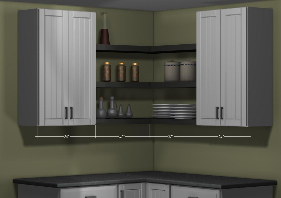 Applad Cabinets With Black Lack Wall Shelves