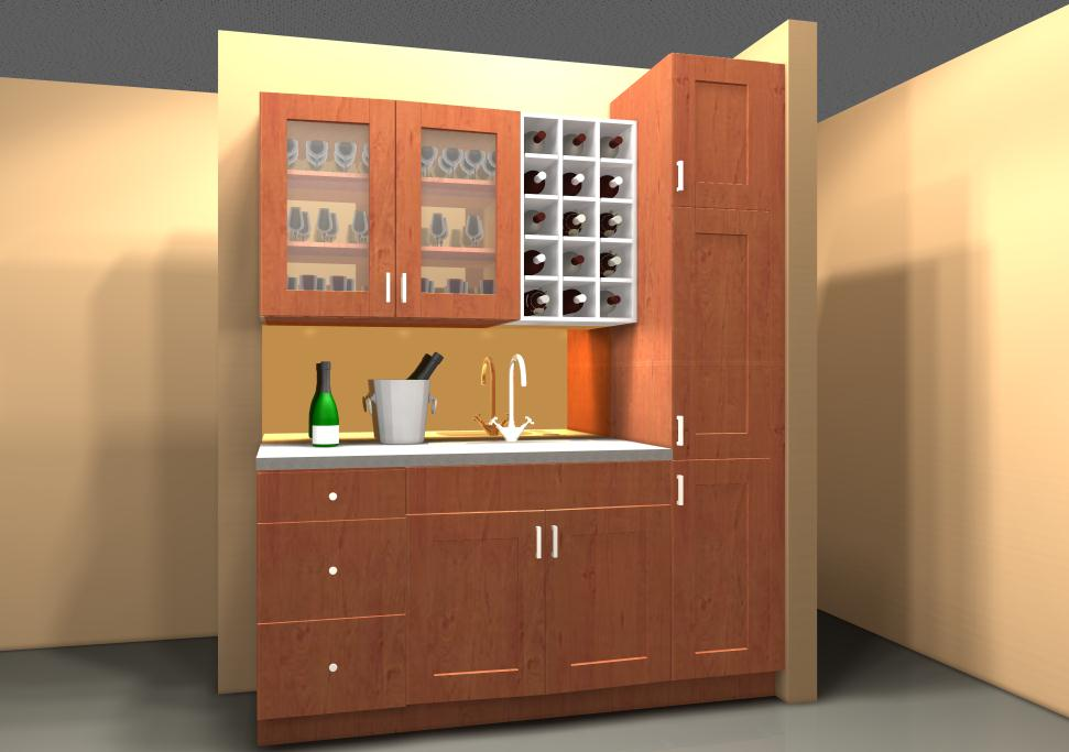 Bar Area in Adel Medium Brown with White Wine Cabinets
