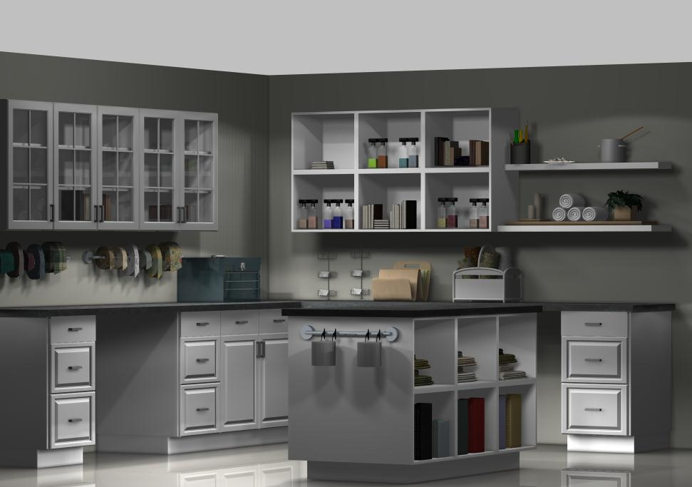 An ikea craft room with kitchen cabinets How to design a room online