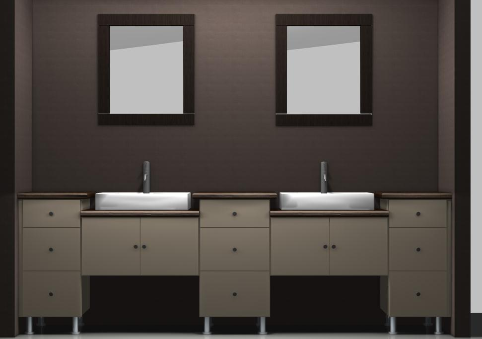 ikea vanities using wall cabinets with different heights. Black Bedroom Furniture Sets. Home Design Ideas