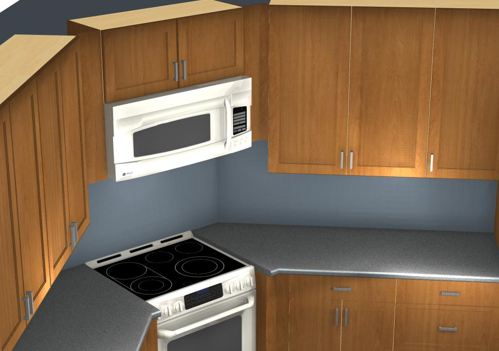 Common kitchen design mistakes corner stove and microwave for Common kitchen layouts