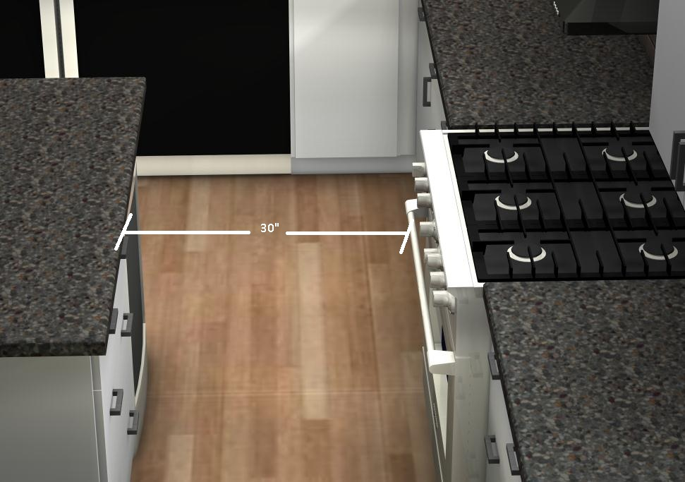Common Kitchen Mistakes How Do I Know What The Ideal Circulation Area Is Between Cabinets